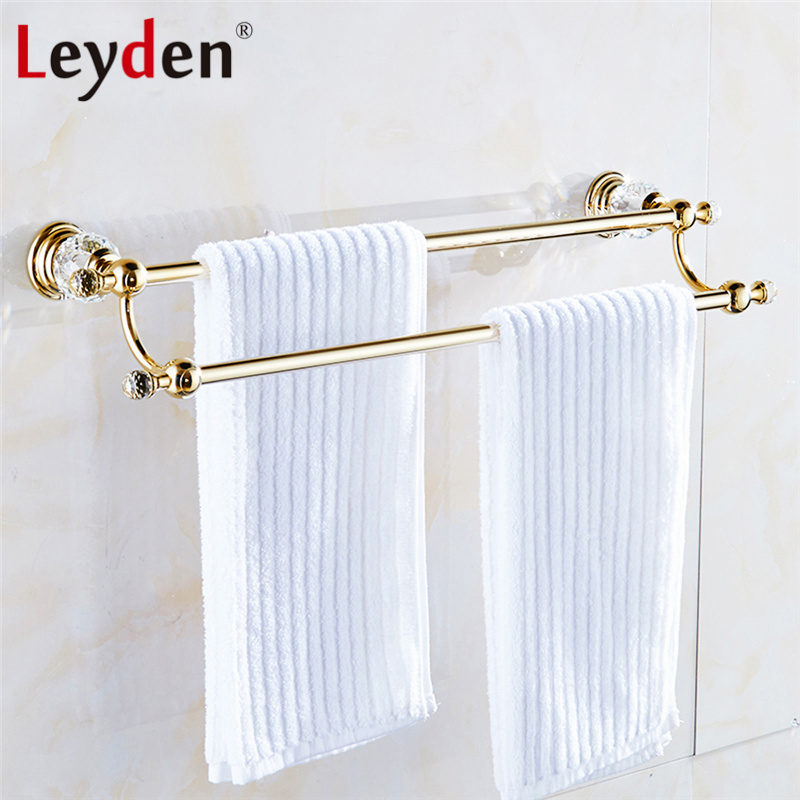 Leyden Luxury Crystal Towel Holder Gold Finish Double Towel Bar Clothes Hanger Wall Mounted Towel Hanger Bathroom Accessories