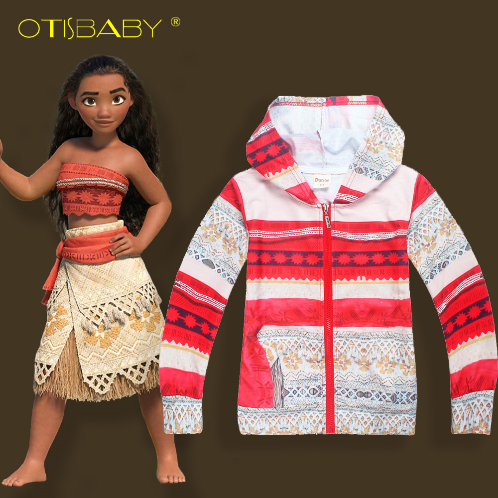Spring and Autumn Moana Princess Print Girls Boys Jacket Thin Coat Kids Boy Hooded Jacket Tops Children Girl Sweatshirt Hoodie