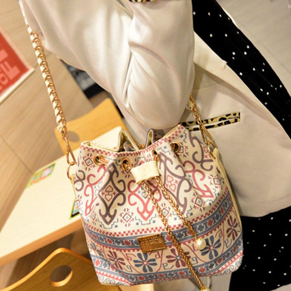 Canvas Drawstring Bucket Bag Chains Shoulder Handbags Women's Vintage Messenger Bags Bolsa Feminina Bolsos #20
