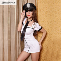Female Withe Sexy Cosplay Costumes Role Play Sex Clothes for Women Exotic Apparel Sexy Police Dress Lingerie 3 Pieces Set