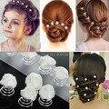 6 unids New Rose Flor Nupcial de La Boda de Perlas de Cristal Remolino Giro Giro Pelo Pasadores Mujeres Chic Hair Jewelry Accesorios Gota envío