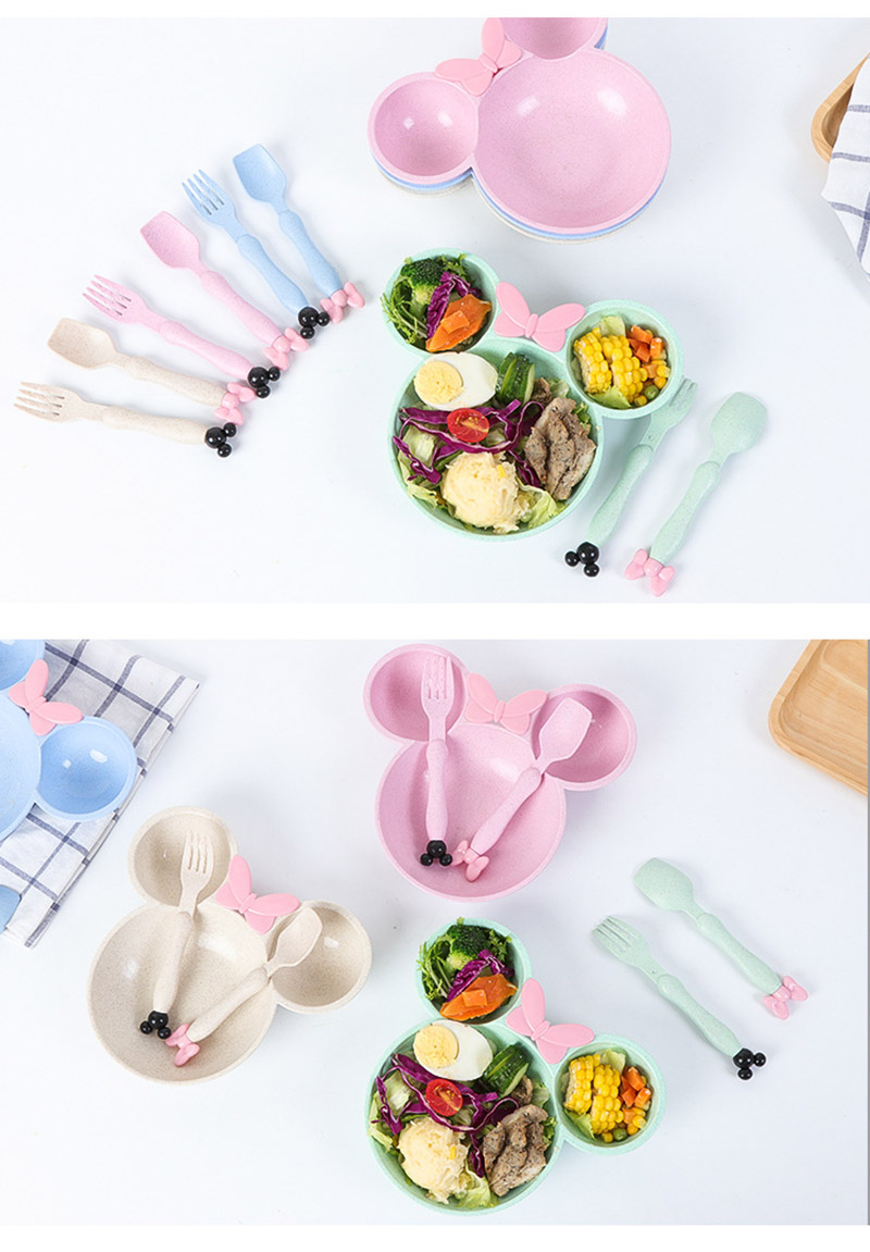 3 PcsSet Baby Food Storage Bamboo Tableware Solid Cute Dishes Kids Plate Bowl Eco-friendly Children Training Dinnerware BB5077 (5)