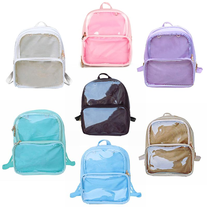 Women Water-resistant PVC+PU Transparent Backpacks Rucksack School Bag Shopping Travel Hiking Bags