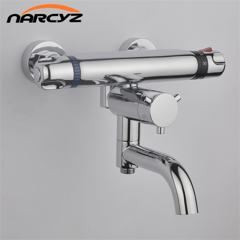 Thermostatic shower faucet swivel Bathroom Wall Mounted thermostatic Bathtub mixing valve Dual Handle Polished Crane AL-840 luxury thermostatic shower faucet mixer water tap dual handle polished chrome thermostatic mixing valve torneira de parede tr511
