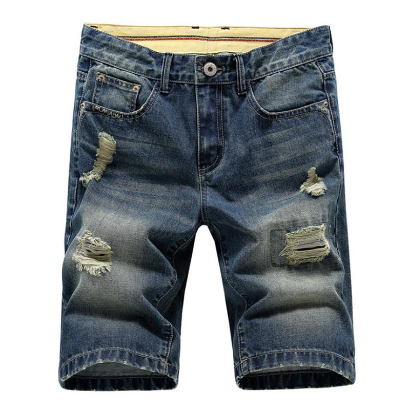 A fashion Stripe jeans shorts men casual mens printed jeans ripped jeans for men knee length pants denim short hole jean холодильник samsung rs57k4000sa