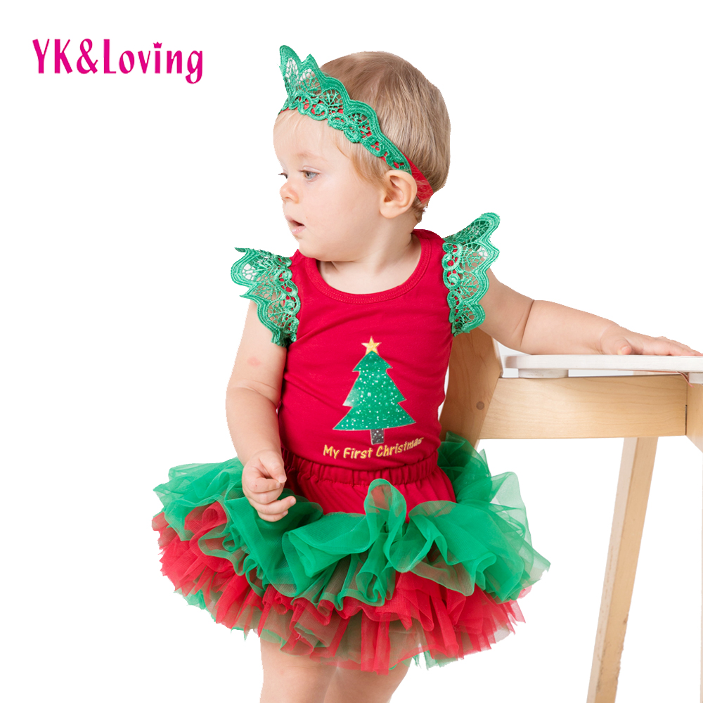 Christmas baby set Red Color Bodysuit Cotton Baby Rompers and Tutu Skirt 3Pcs New Born Autumn Girl Clothing Infant Clothes Xmas 1st birthday baby girl clothes set bodysuit jumsuit set cotton romper 6 layer tutu skirt headbands infant clothing suit