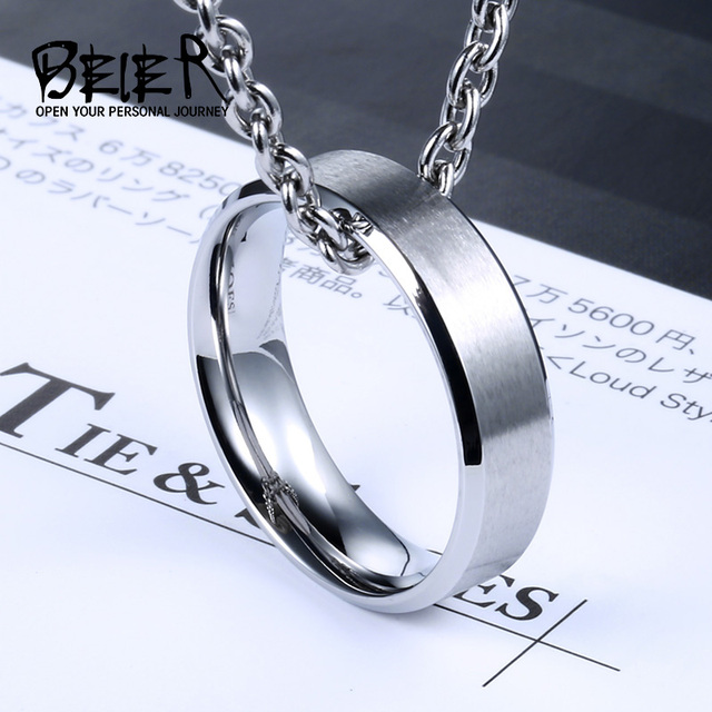 BEIER Top quality  Men's New Brand Unique Stainless Steel Dull Polish Simple Ring Shine Three Color BR-R075