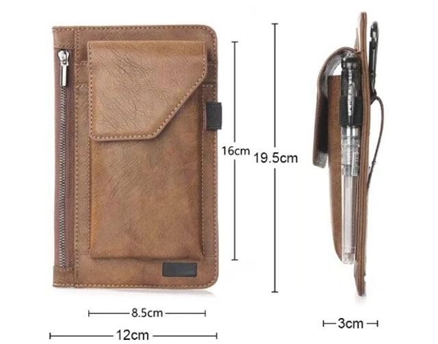 Hook Loop Man Belt Clip Zipper Card Pouch Dual Mobile Phone Leather Case For THL Knight 1,Oukitel U11 Plus/U7 Max/U13/U20 Plus
