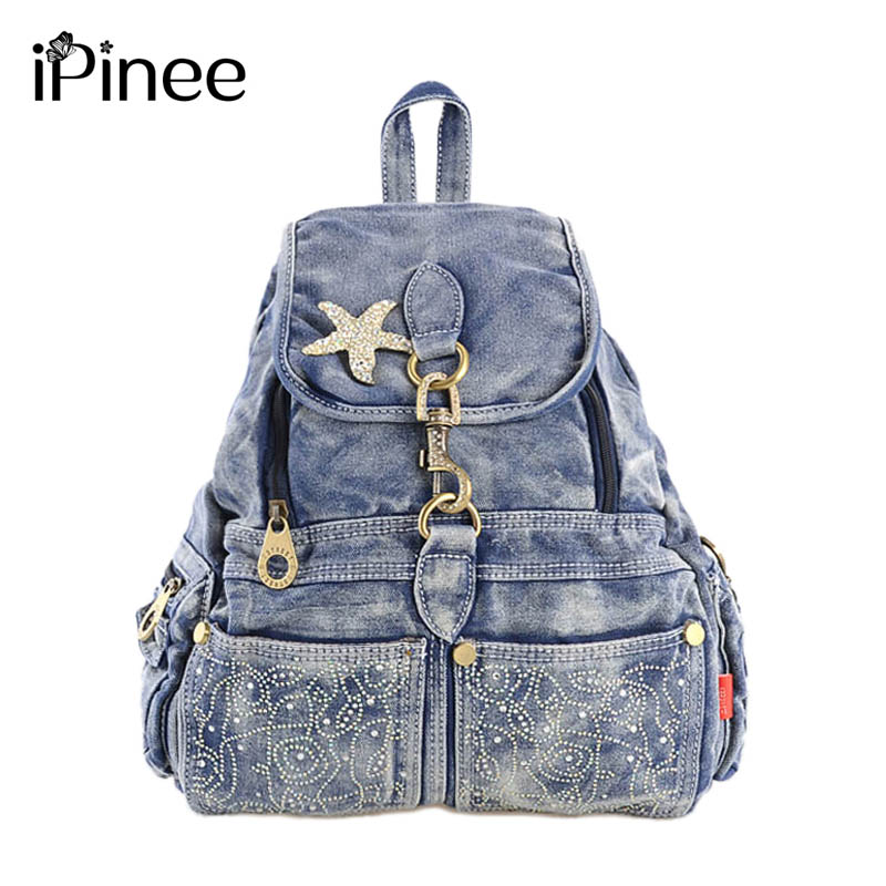 iPinee Korean Fashion 2017 Women School Bags Preppy Style Lady Backpack Casual Knapsack Denim Packsack Rucksacks For Girls plus size women denim overalls new 2017 ladies bib jeans korean fashion preppy style bleached garment washed free shipping