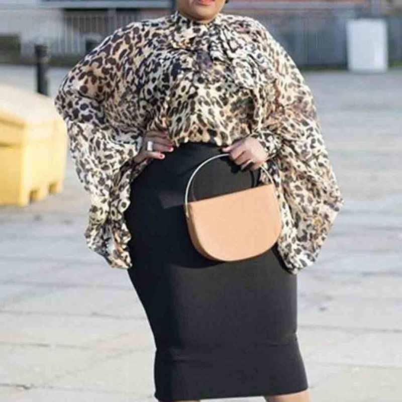 ليوبارد بلوزة النساء فانوس طويلة الأكمام الحديثة الأزياء زائد حجم أعلى فضفاض الشارع حزب عارضة البلوزات السيدات قمم الربيع 2019