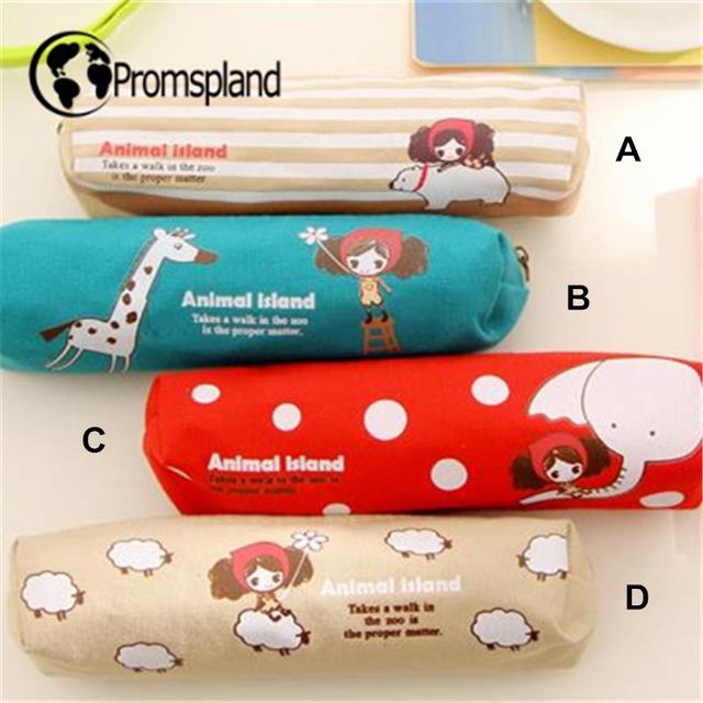40pcs Cartoon Pencil Case giraffe with Girl Pen Bag Stationery Oxford Canvas Pink Red Pencilcase Office School Supplies 14cm