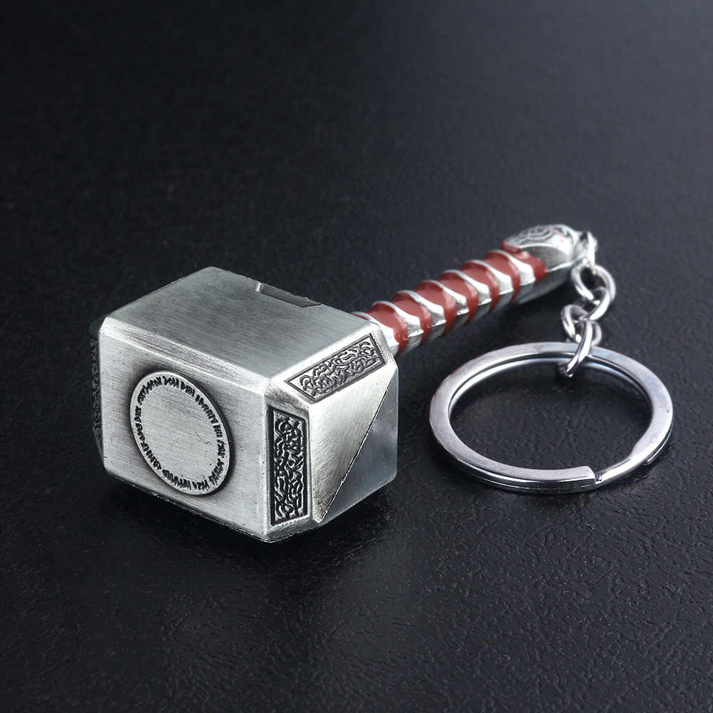 Thor Hammer โลหะพวงกุญแจ Avengers Endgame Superhero Thor อาวุธ Iron Man Key chain สำหรับกุญแจรถผู้หญิงกระเป๋าอุปกรณ์เสริม