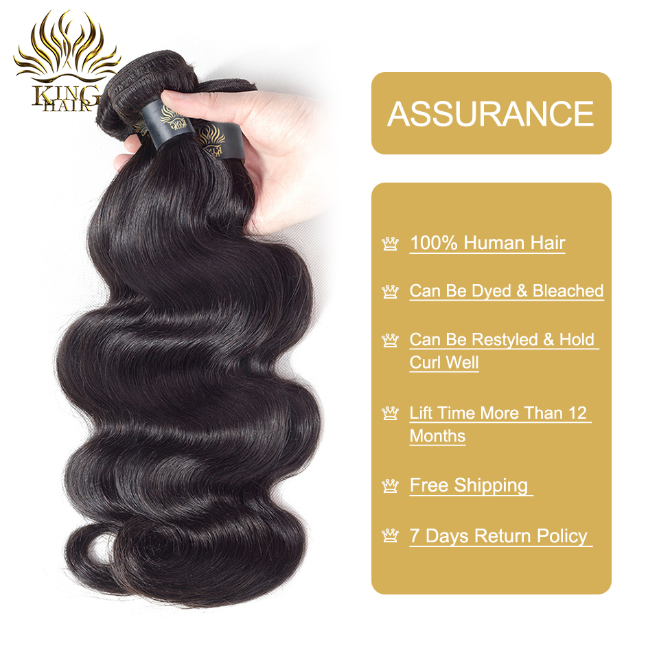 KING HAIR Peruvian Remy Hair Body Wave Bundles Naturlig Sort Farve - Menneskehår (sort) - Foto 4