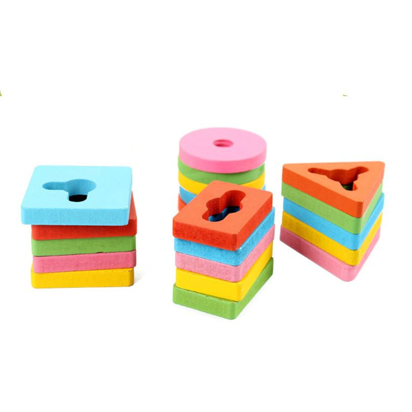 DIY Imagination Four Sets Wooden Column Blocks Children Shape Recognition Wooden Stack Educational For Kids Do-It-Yourself t211
