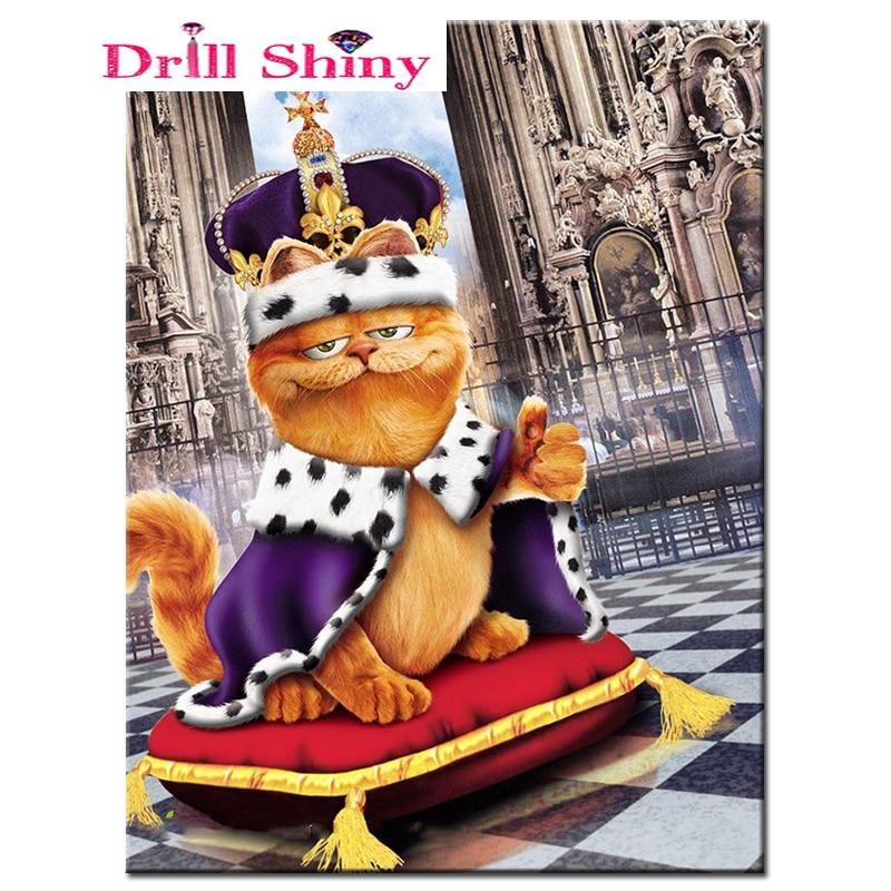 5d Diy Diamant Borduurwerk Cartoon Cat Koning Diamant Schilderen Kruissteek Volledige Boor Strass Mozaïek Decoratie Gift