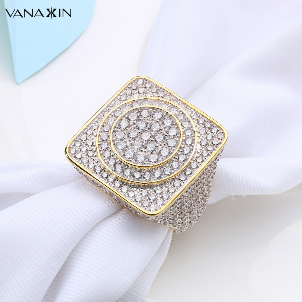 VANAXIN 925 Sterling Silver Rings for Men Jewelry Iced Out CZ Crystal Anel Masculino Joias Engagement Wedding Rings Bague Homme все цены