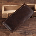 High Quality Genuine Leather Men Long Wallet ID/Credit Card Cash Coin Pocket Clutch Money Bag First Layer Cowhide Bifold Purse