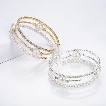 Crystal Pearl Rhinestone Multi-layer Adjustable Bracelet  4