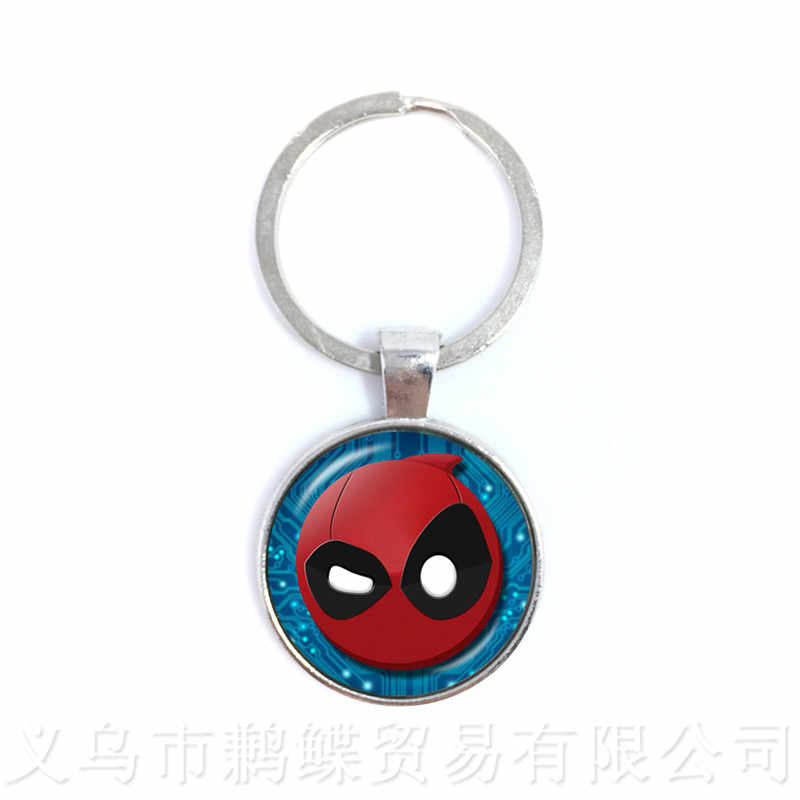 Deadpool Keychains 25mm Round Glass Dome Neo-Gothic Cartoon Characters Keyring Personalized Gift For Cartoon Lover