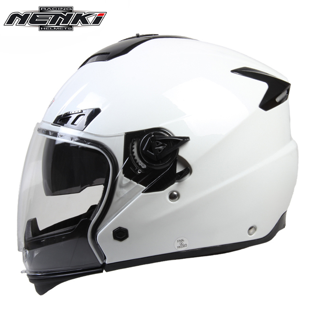 ФОТО NENKI Motorcycle Full Face Helmet Unisex Motorbike Riding Street Motor Racing Helmet With Dual Visor Sun Shield Lens White