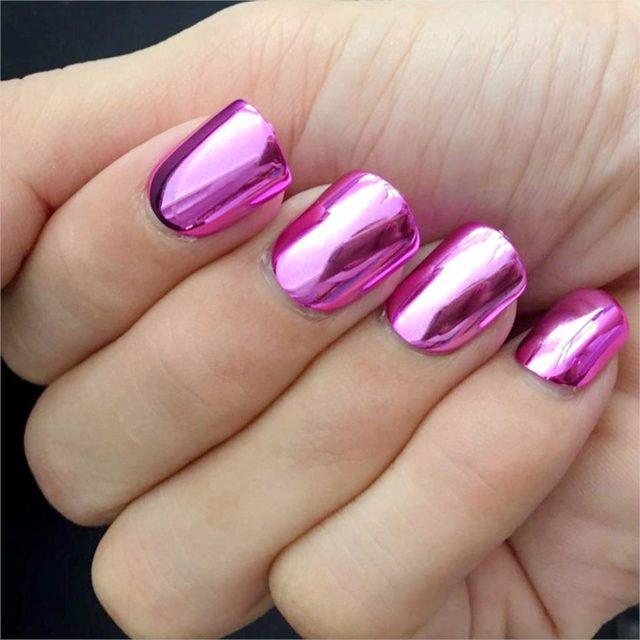 24pcs Flat Top Nail Art Tips DIY Plastic False Nails Metallic Pink Women Fashion Fake N08