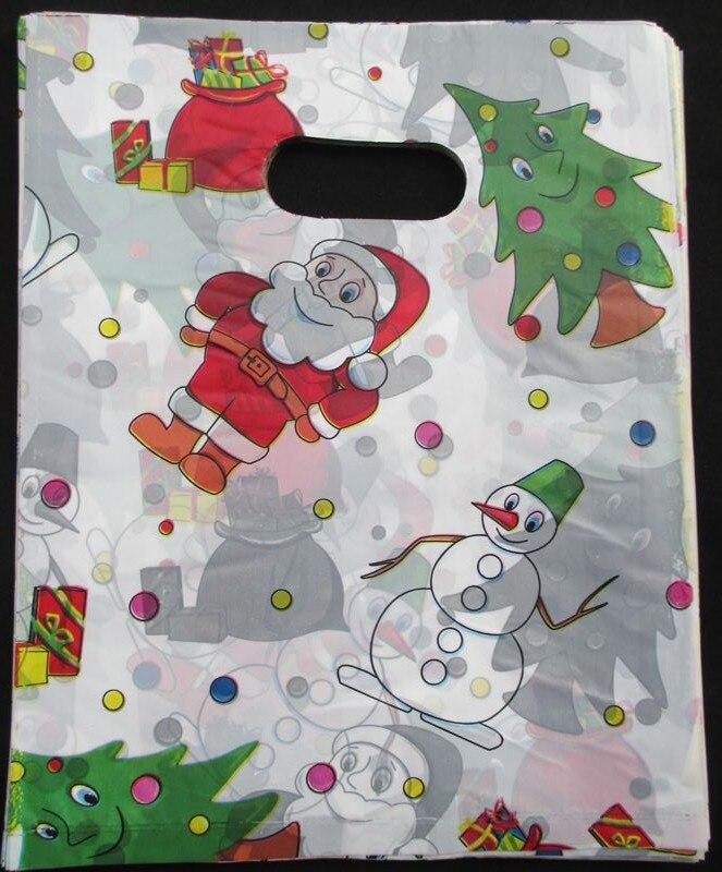 100pcs/lot Free shipping color Christmas tree Plastic <font><b>bags</b></font> Wholesale Carrier <font><b>bags</b></font> Packing <font><b>shopping</b></font> <font><b>bags</b></font> 25*20cm 015020035