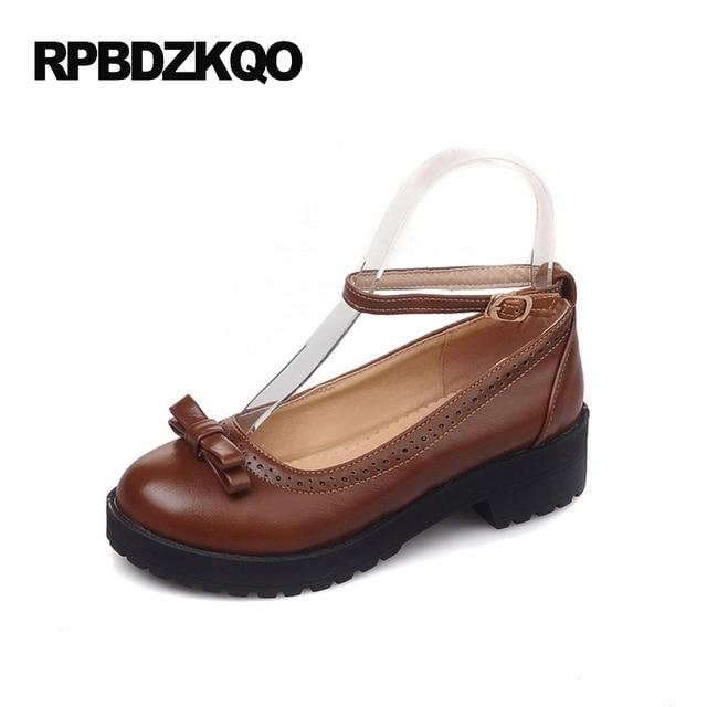 Chaussures Marron Avec Talon Carré Avec Nez Rond Pour Les Femmes N47d0wKtZC
