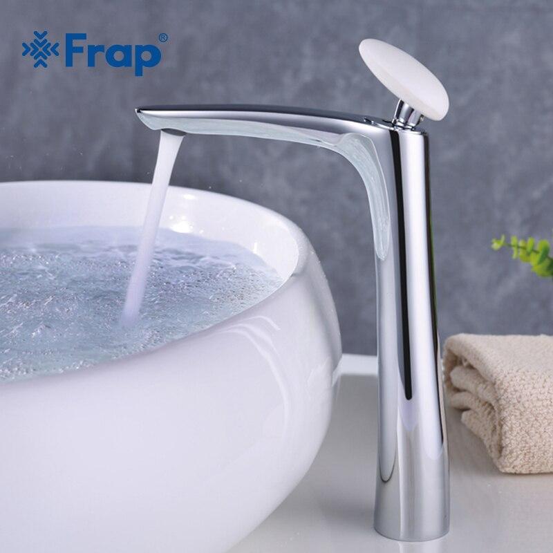 Frap Nuovo ottone di Alta chrome vasca da bagno Bacino rubinetto del Bagno di acqua lavandino rubinetto miscelatore Gru Torneira con rotondo bianco maniglia Y10018