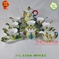 9 Piece Enamel Porcelain Peacock Coffee Set Senior European Style Bone China tea set for New Year gift