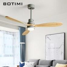 مروحة سقف ليد 52 بوصة بإسكندنافية خشبية من BOTIMI لغرفة المعيشة مروحة سقف عصرية لتبريد عن بعد تركيبات مروحة إضاءة منزلية
