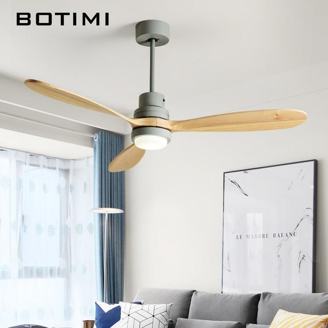 BOTIMI İskandinav ahşap 52 inç LED tavan vantilatörü oturma odası için Modern uzaktan soğutma tavan vantilatörleri ev aydınlatma fanı lambaları fikstür
