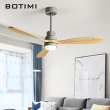 Потолочный вентилятор BOTIMI в скандинавском стиле, светодиодный деревянный 52 дюйма, современный удаленный охлаждающий потолочный вентилятор для гостиной, домашнее освещение, лампы вентиляторы
