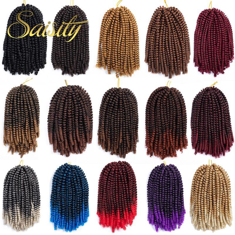 Удлинитель волос Saisity с эффектом омбре, вязанные крючком весенние косички, синтетические плетеные волосы, ямайский упругий пушистый поворо...