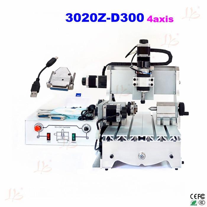 3020 Z-D300 4axis mini CNC router engraving machine cnc milling machine ship to russia NO Tax russia no tax cnc 6040z d300 engraving machine cnc router milling machine cnc 6040z d300w for cutting wood acrylics mdf