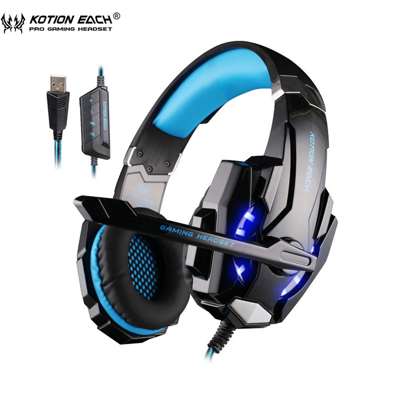 KOTION EACH G9000 USB Gaming Headphones with Microphone 7.1 Surround Sound Game Headset LED Light for Laptop Tablet / PC kotion each g9000 7 1 surround sound gaming headphone game stereo headset with mic led light headband for ps4 pc tablet phone