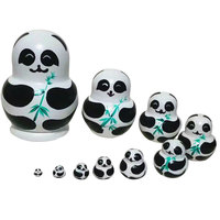 10pcs Set Panda With Bamboo Nesting Dolls Matryoshka Russian Doll Popular Handmade Kids Girl Gifts Christmas