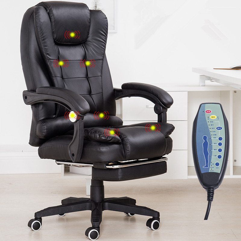 Hjemmekontor Computer Desk Massasjestol med fotstøtte liggende Executive Ergonomic Vibrating Office Chair Furniture