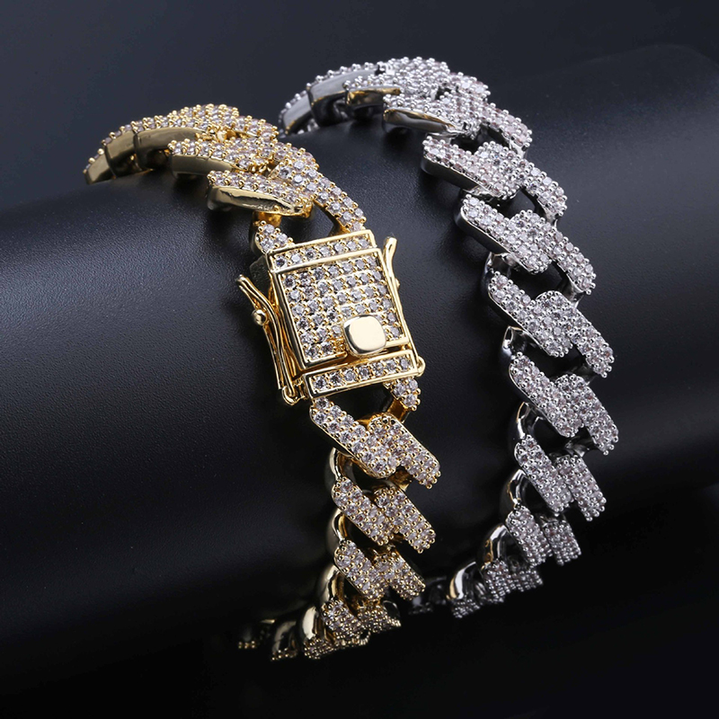 """14mm Wide 7\""""8\"""" Miami Curb Cuban Chain Bracelet Men Hip Hop Bling Iced Out Paved Rhinestones Gold Silver CZ Bracelets Jewelry"""