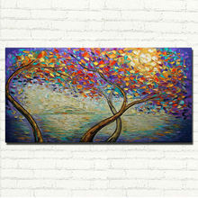Handpainted Knife Palette tree Oil Paintings Flower Canvas Art Abstract Picture Modern Wall Decoration For Home
