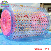 2017 latest toy craze roller coaster ball on the water ,summer games inflatable water roller ball for pool