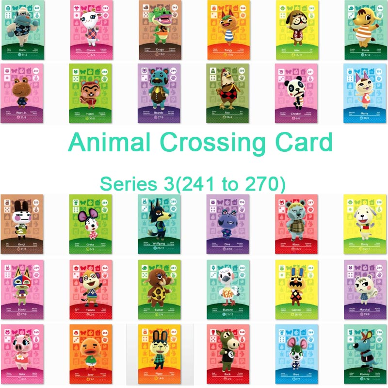 <font><b>Animal</b></font> <font><b>Crossing</b></font> <font><b>Card</b></font> <font><b>Amiibo</b></font> <font><b>Card</b></font> Work for NS Games Series 3 (241 to 270) image