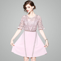 High Quality Brand Designers Runway Dress Women 2018 New Fashion Summer Style Dress Elegant Embroidered Lace