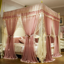 Pink Gray Red Green Double-deck Romantic White Lace Luxury Court Style Three-door Square Floor-standing Mosquito Net Bedding Set