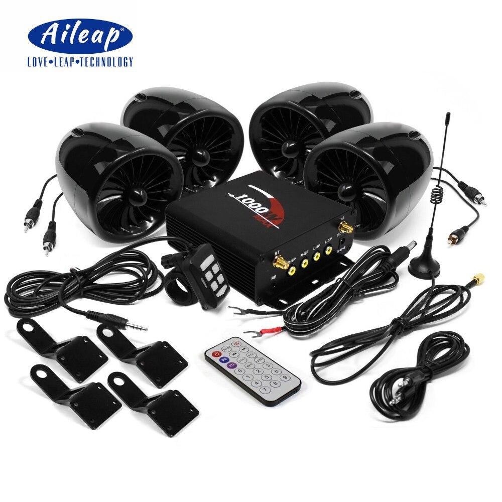 Aileap 1000 W Amplificatore Bluetooth Del Motociclo Stereo 4 Altoparlanti MP3 Sistema Audio Radio FM per HARLEY/SUZUKI/HONDA/ATV/UTV (Nero)