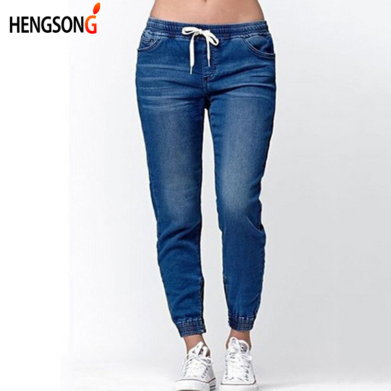 Hengsong 2018 New Women Fashion Casual Drawstring Jeans Women Summer Autumn Skinny Middle Waist Ladies Lantern Jeans