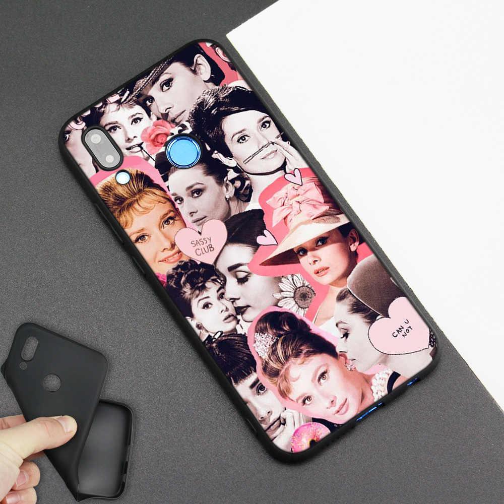 Funda de silicona para Huawei P20 P10 P9 P8 Lite Pro 2017 P Smart + 2019 Nova 3i 3E teléfono funda blanda Audrey Hepburn Girl