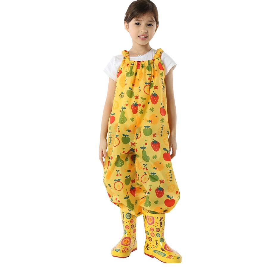 Yuding Rain Pants Unisex Kids Suspender Trousers Outdoor Split Thicken Raincoats Polyester Tasteless Waterproof Jumpsuit Romper