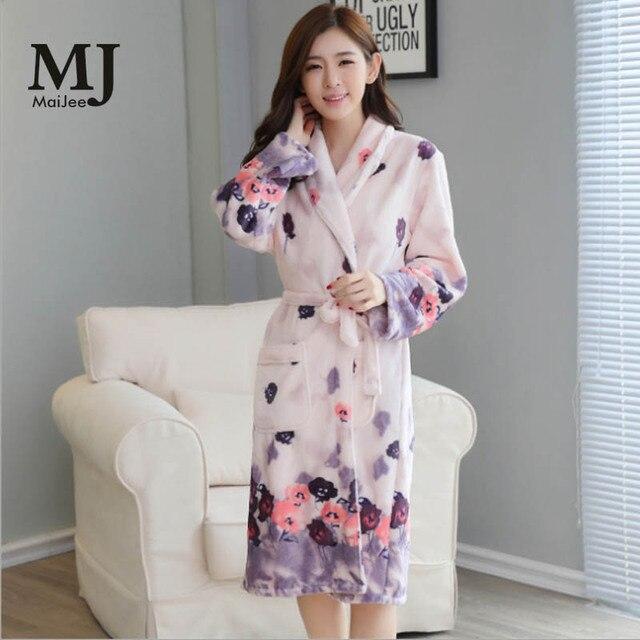 aaf7bcd3739df Épaississement flanelle hiver Robe Sexy Robes pour femmes Peignoir Robes de chambre  pour femmes peignoirs Peignoir