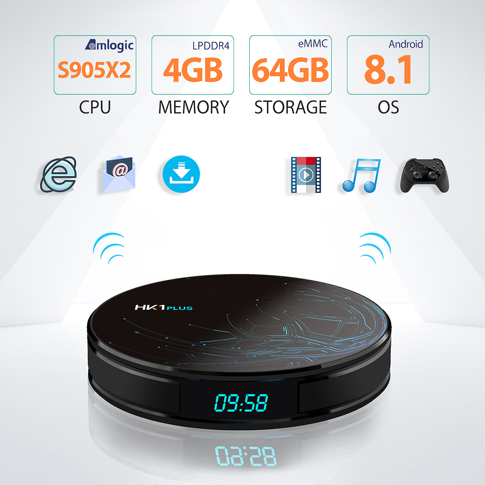 HK1 Plus Android 8.1 Smart TVBox Amlogic S905X2 4G 64G LPDDR4 4 K 2.4G/5 GHz Wifi Android Box Media Player4K Youtube Google Player-in Décodeurs TV from Electronique    1