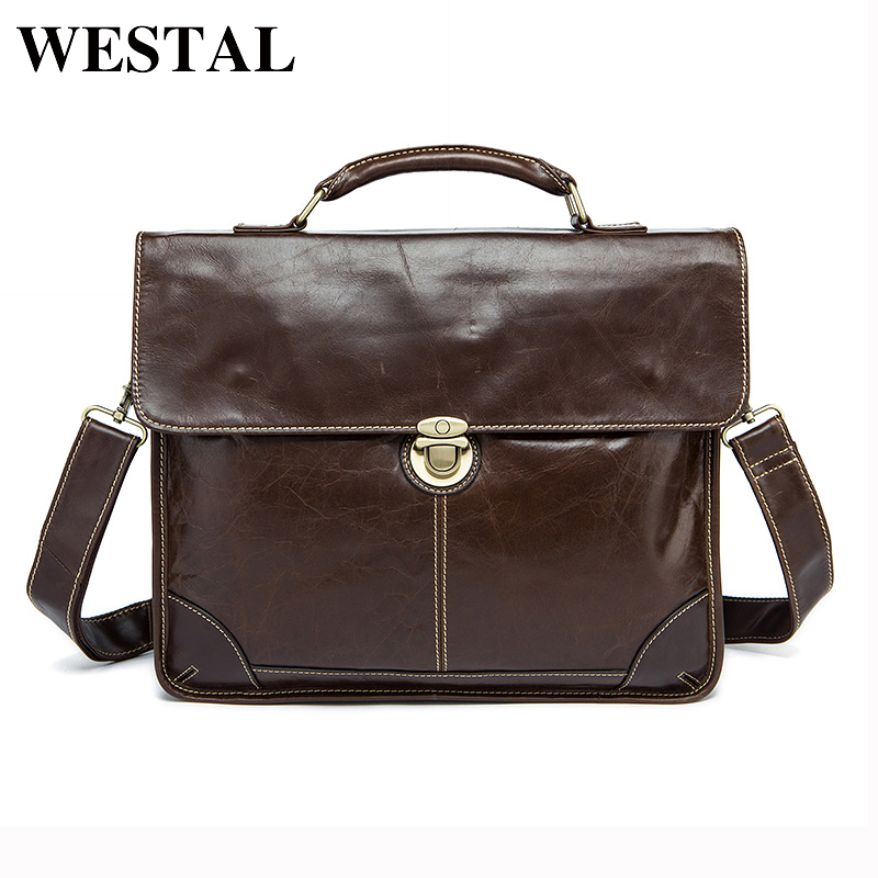 WESTAL Messenger Bag Men Genuine Leather shoulder bags Vintage male man laptop briefcases for documents crossbody bags for men
